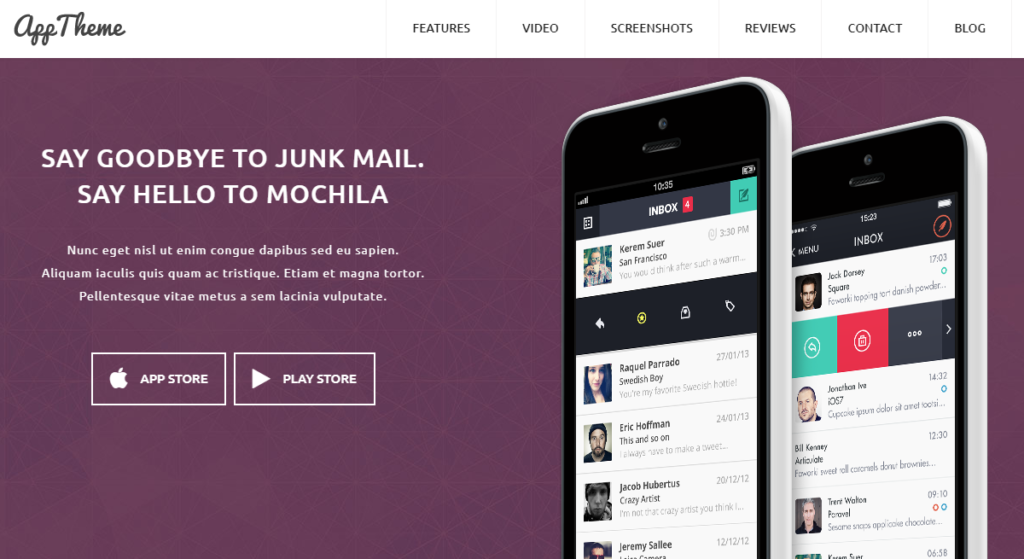 Responsive App WordPress Theme for Products and Apps