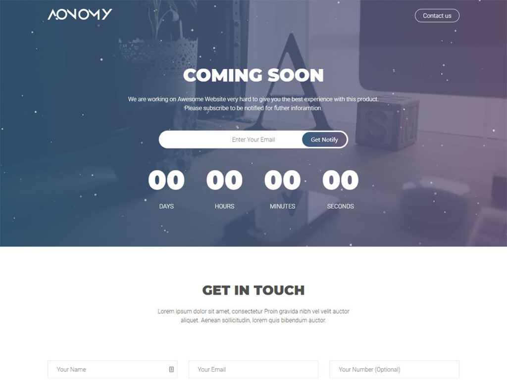Aonomy - Coming Soon Page