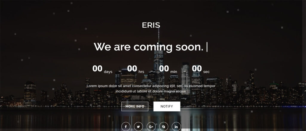 Eris - Coming Soon Page