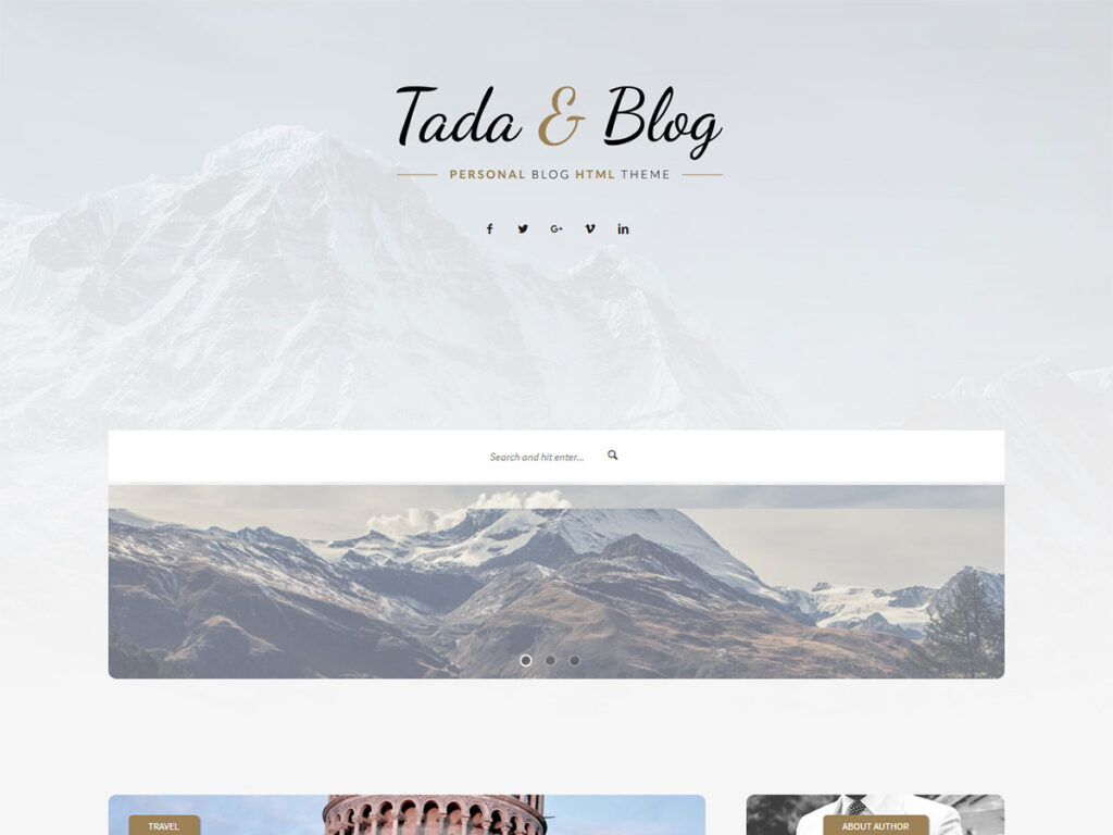 Tada & Blog - Informational Website Templates