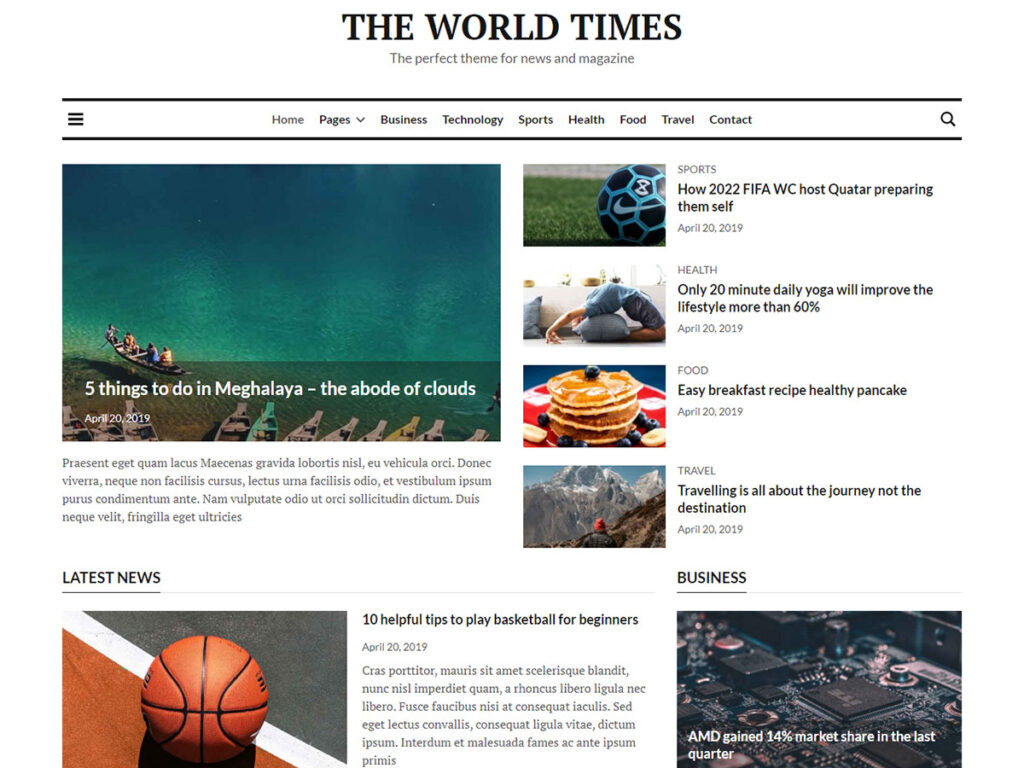 World Times - Personal Website Templates
