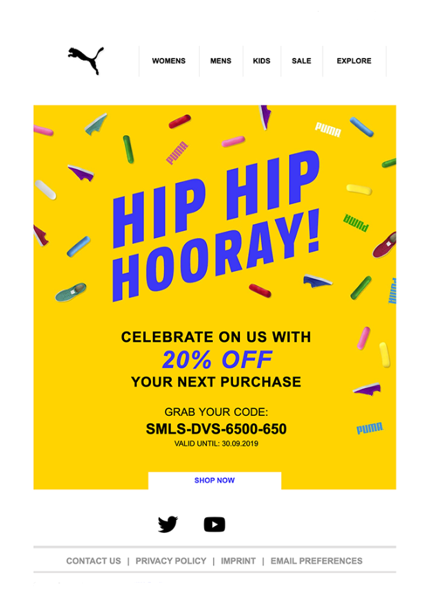 Puma Birthday Email